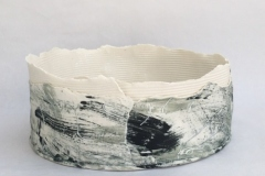 ROUND DOUBLE LAYERED PAPER CLAY FORM GLAZED INTERIOR WITH SLIP DECORATION ON SURFACE 14 CM H 25CM W £130
