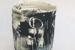 ROUND PAPER PORCELAIN VESSEL GLAZED INTERIOR SLIP DECORATED 13CM £60