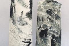 PORCELAIN PAPER CLAY BOTTLES WITH SLIP DECORATION 31CM £110 EACH